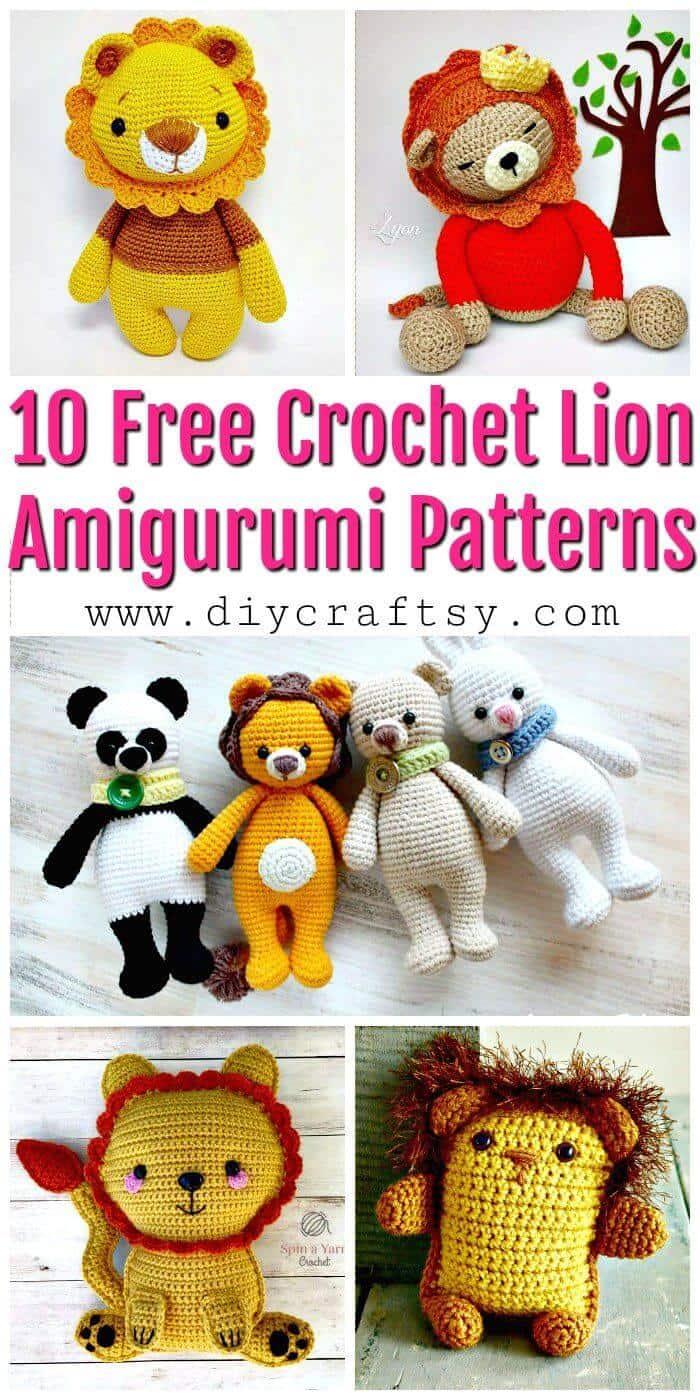 10 patrones de amigurumi de león de ganchillo gratis - patrones de ganchillo gratis - manualidades de bricolaje