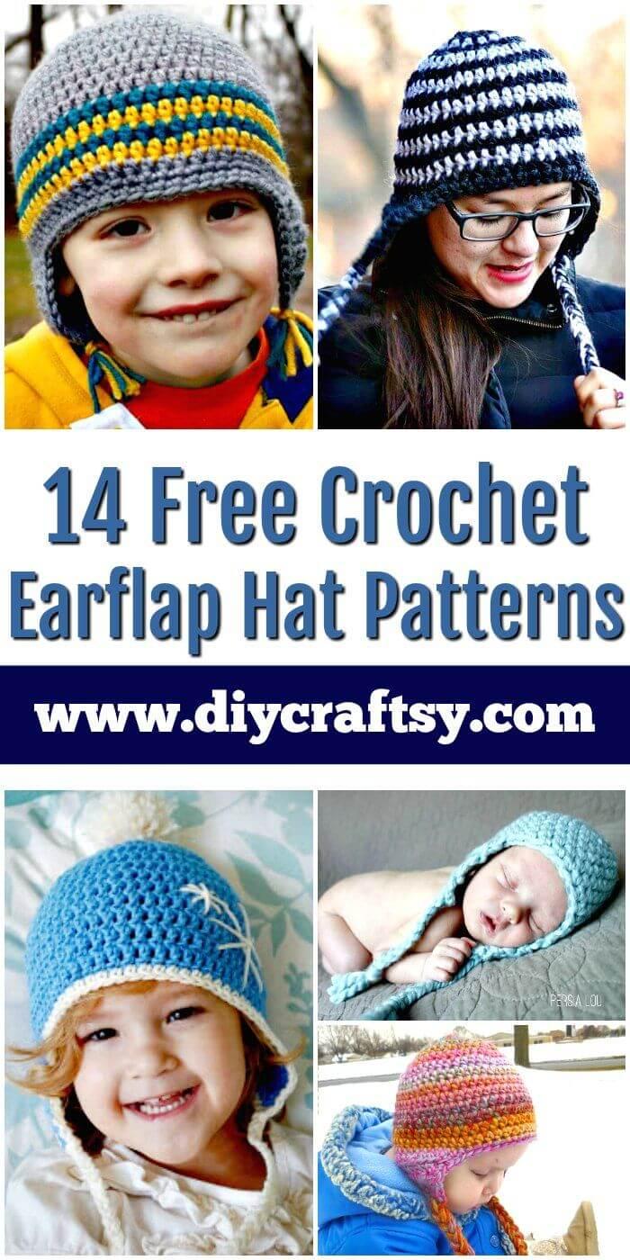 14 patrones de gorro de orejeras de ganchillo gratis - patrones de ganchillo gratis - manualidades de bricolaje