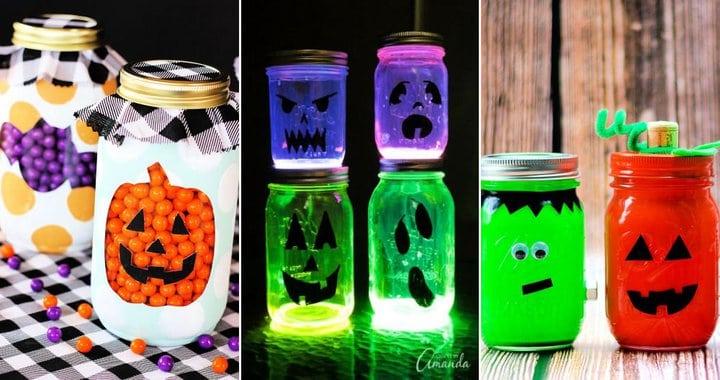 15 ideas simples de tarros de masón de Halloween