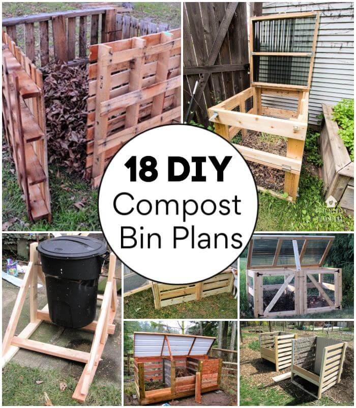 18 planes de cubos de compost de bricolaje para construir su nuevo cubo de compost, cubo de basura para compost, paletas de cubos de compost de bricolaje, ideas de contenedores de compost de madera para bricolaje, manualidades