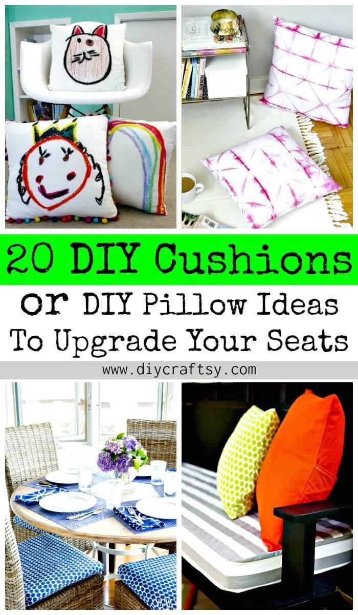 20 cojines de bricolaje o ideas de almohadas de bricolaje para mejorar su asiento - Manualidades de bricolaje - Ideas de decoración del hogar de bricolaje - Proyectos de bricolaje