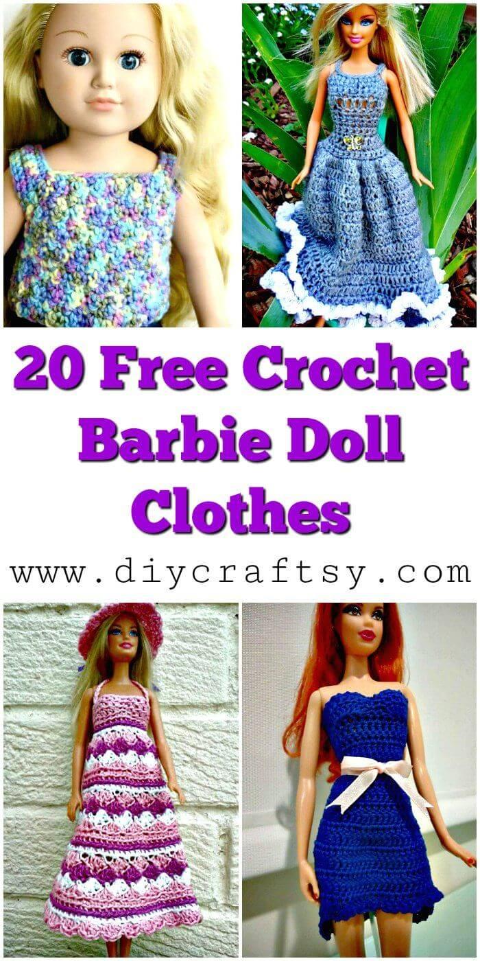 20 ropa de muñeca Barbie de ganchillo gratis - Patrones de ganchillo gratis - Manualidades de bricolaje
