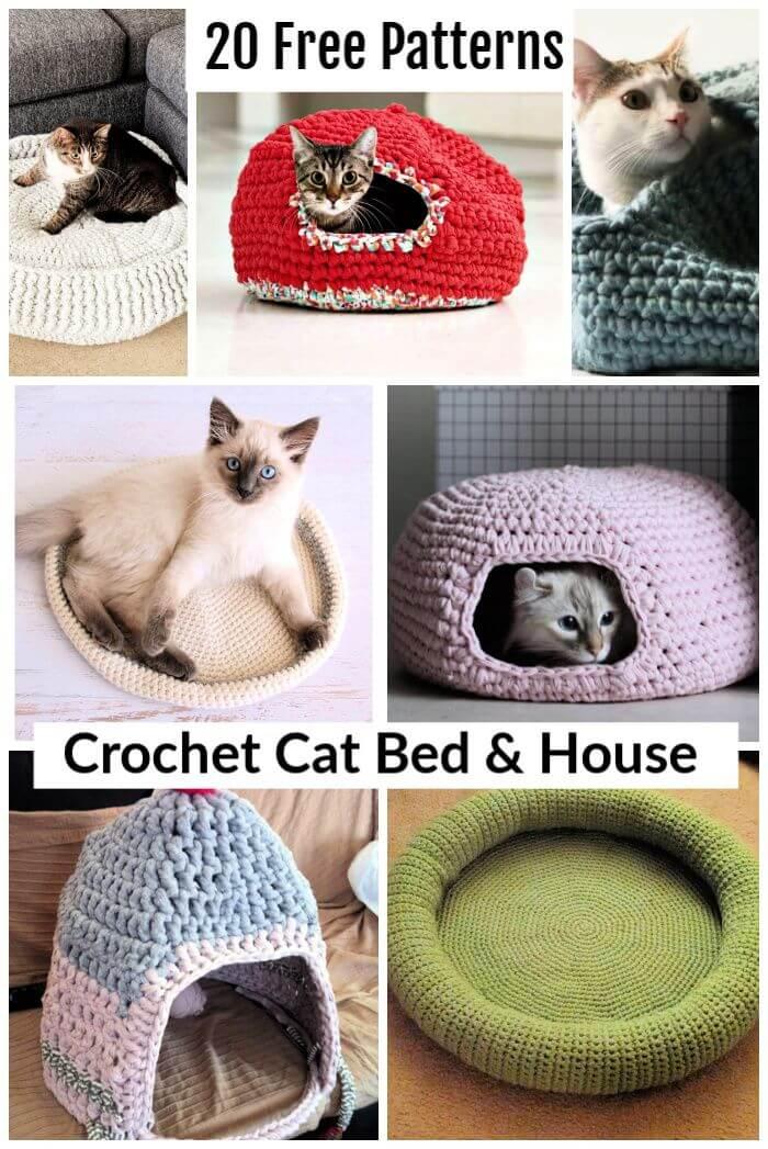 20 Free Crochet Cat Bed & House Patterns, crochet cat house y free crochet patterns