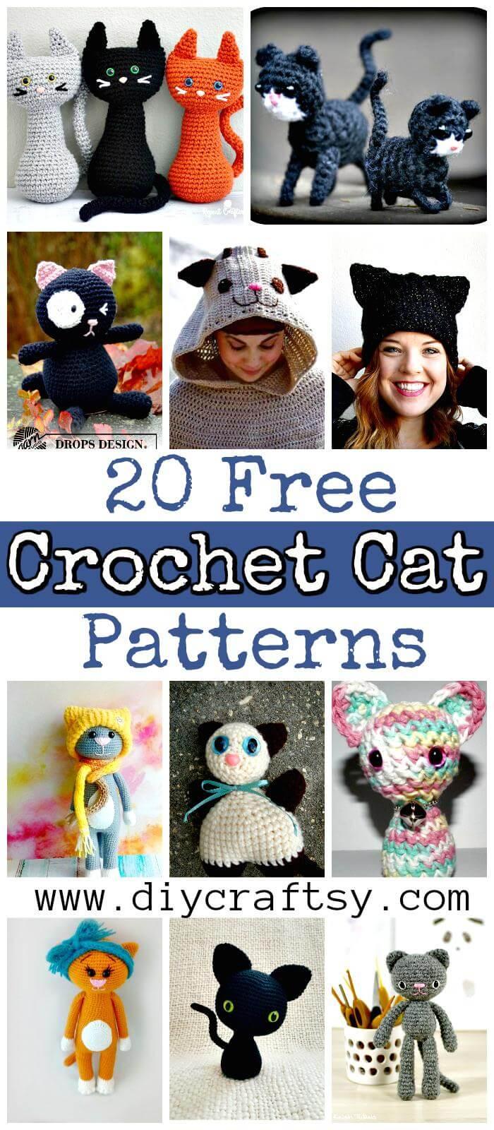 20 patrones de gato de ganchillo gratis - juguetes de gato de ganchillo - patrones de amigurumi de ganchillo