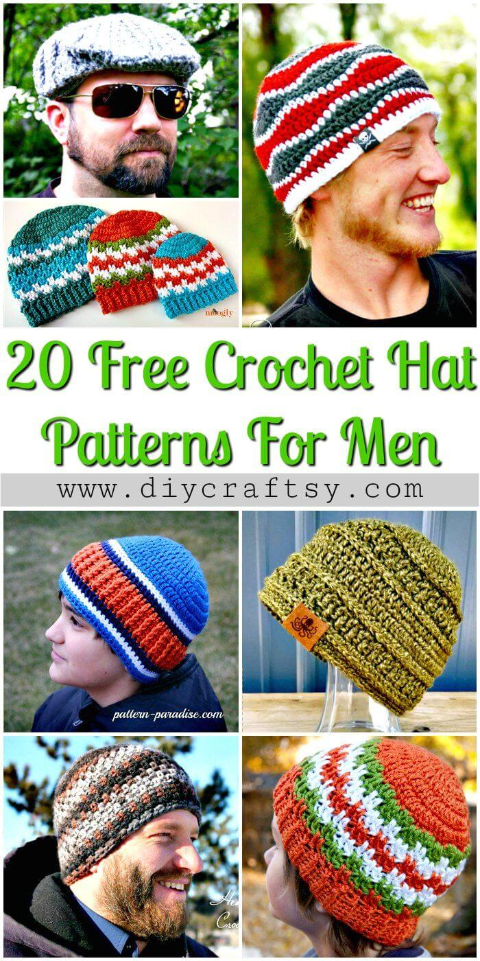20 patrones de gorro de ganchillo gratis para hombres - Patrones de ganchillo gratis - Manualidades de bricolaje