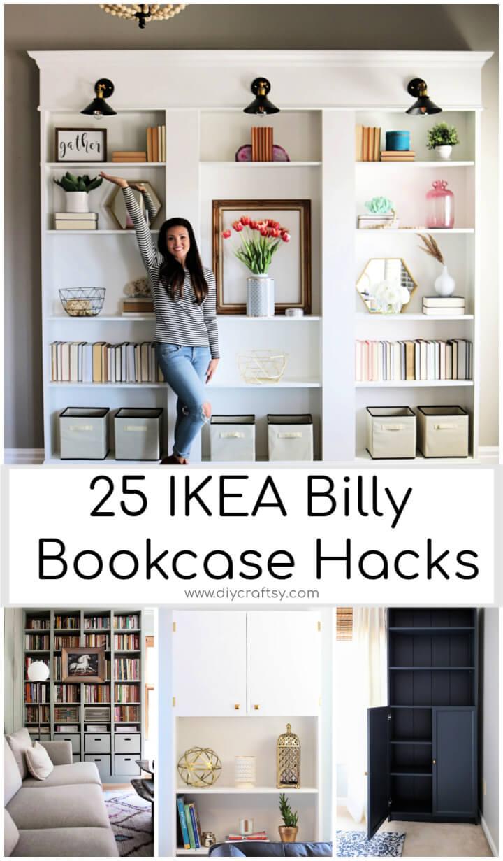 25 mejores trucos para estanterías IKEA Billy con planes gratuitos