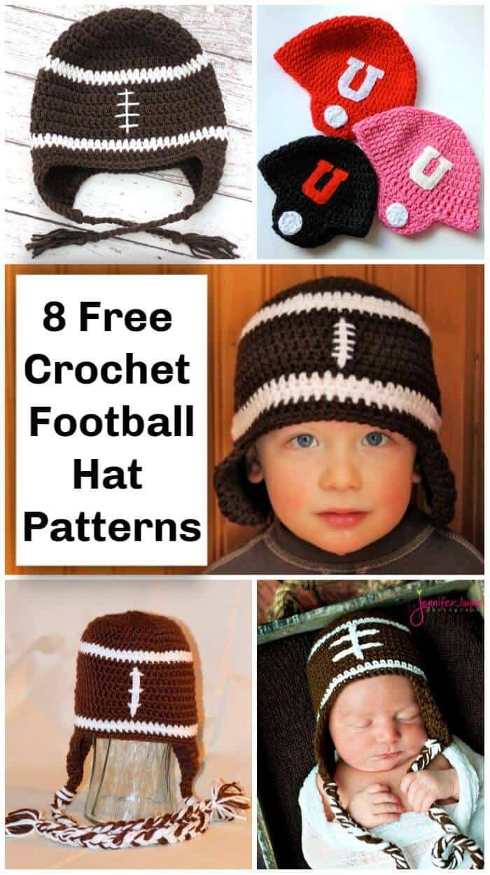 8 patrones de gorro de fútbol de ganchillo gratis, patrón de sombrero de equipo de fútbol de ganchillo, casco de fútbol de ganchillo, sombrero de orejeras de ganchillo