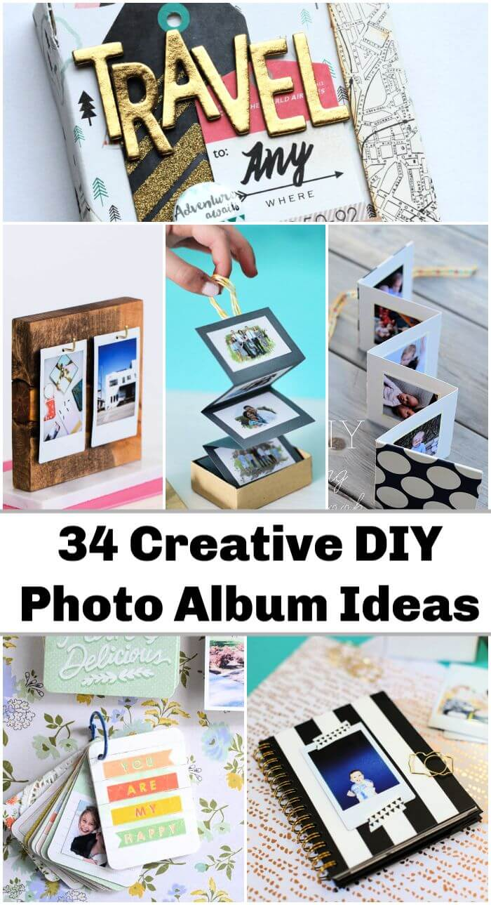 34 ideas creativas para álbumes de fotos de bricolaje