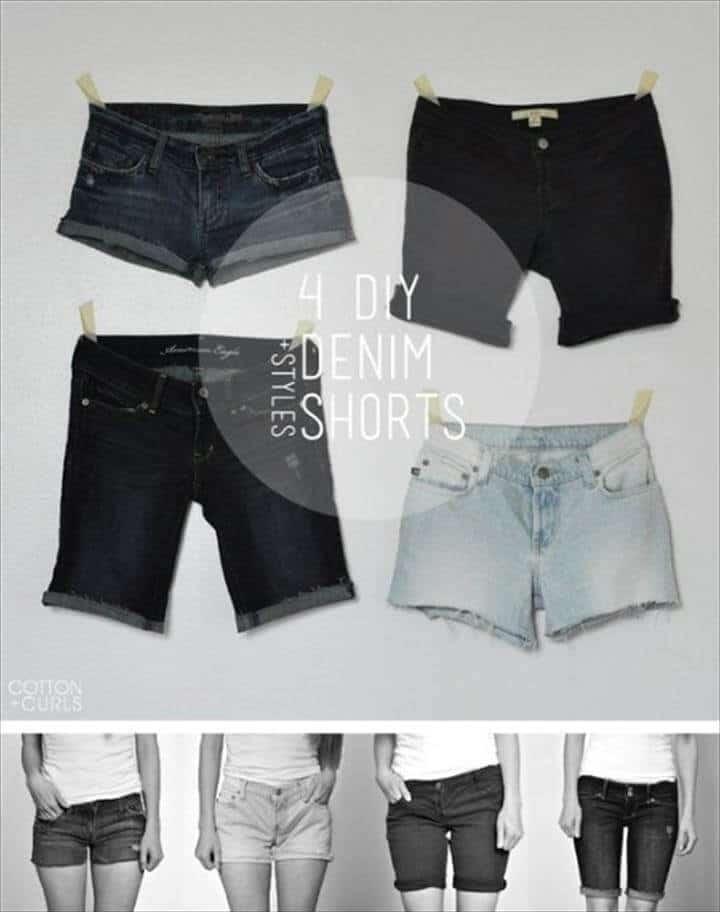 4 estilos de pantalones cortos de mezclilla inteligentes DIy