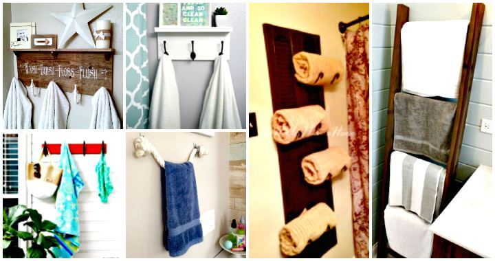 50 ideas fáciles de hacer un toallero de bricolaje para organizar el almacenamiento de su baño