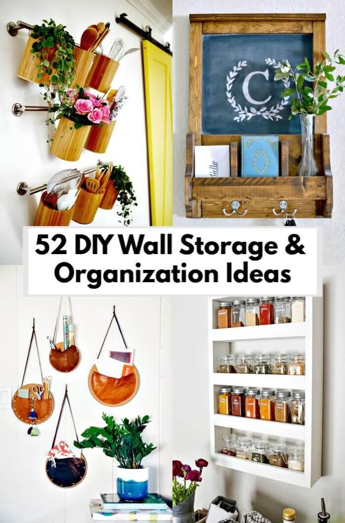 52 ideas de organización y almacenamiento de pared de bricolaje para espacios pequeños