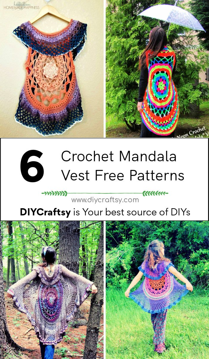 6 patrones de chaleco de mandala de ganchillo gratis