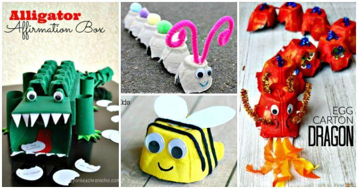 80 manualidades de cartón de huevos que hacen felices a sus hijos - Arte de bricolaje y manualidades para niños, Ideas de manualidades para niños - Ideas de manualidades para niños - Manualidades de bricolaje - Proyectos de bricolaje fáciles