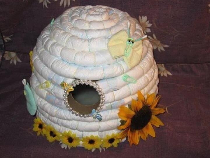 pastel de pañales de colmena fresco