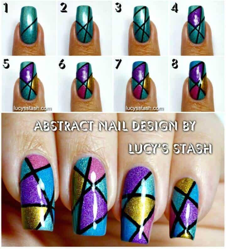 Fácil diseño de arte de uñas Holo abstracto DIY
