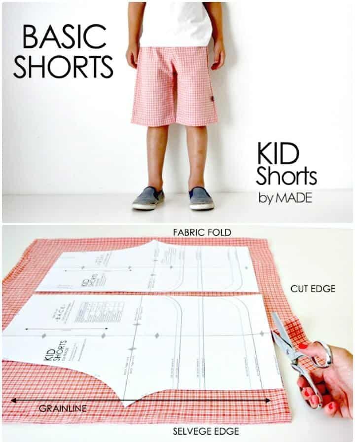 Adorable pantalones cortos para niños básicos de bricolaje