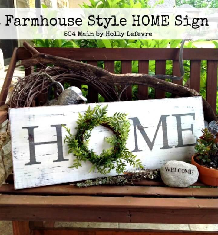 Letrero de casa inspirado en estilo de granja de bricolaje - Idea de letrero de primavera