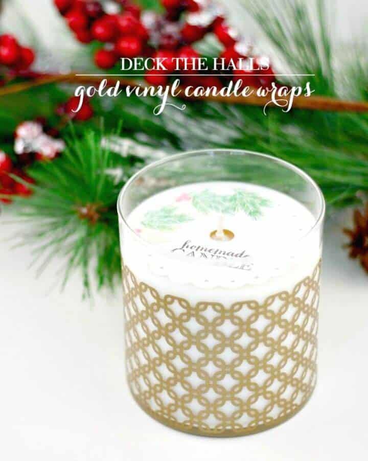 Envolturas de velas de vinilo dorado DIY para regalo de boda