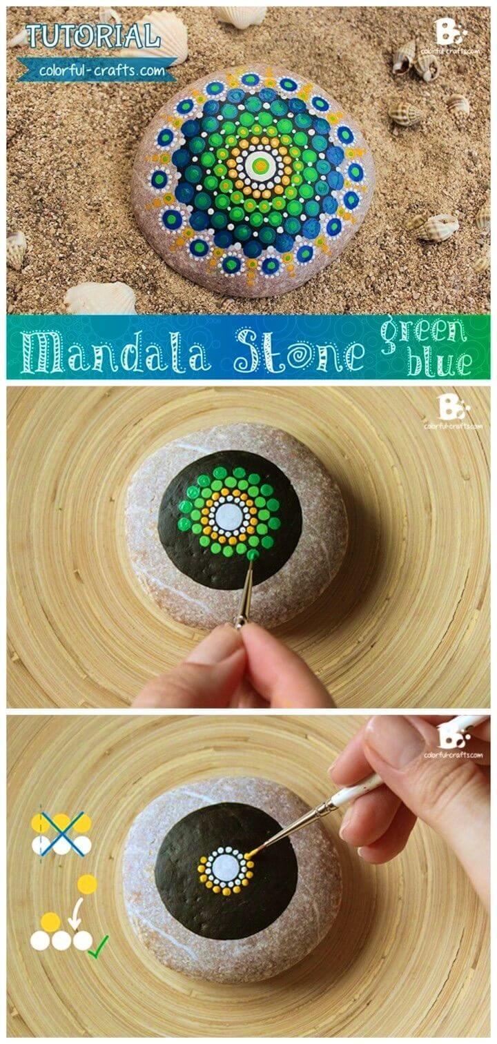 Adorable DIY Mandala Rock pintado, inspiraciones de patrón de diseño de roca pintada, arte rupestre pintado