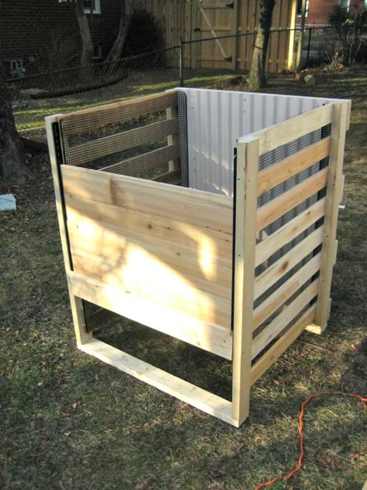 Cubo de compostaje con marco de madera para bricolaje
