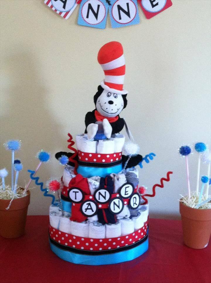 idea de decoración de pastel de pañal de ducha de bebé