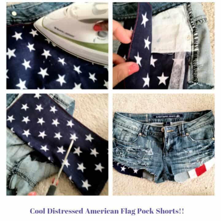 Pantalones cortos de bolsillo con bandera estadounidense de bricolaje