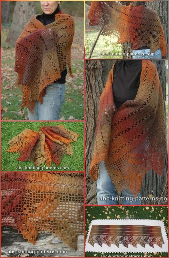 hojas de otoño filete crochet chal