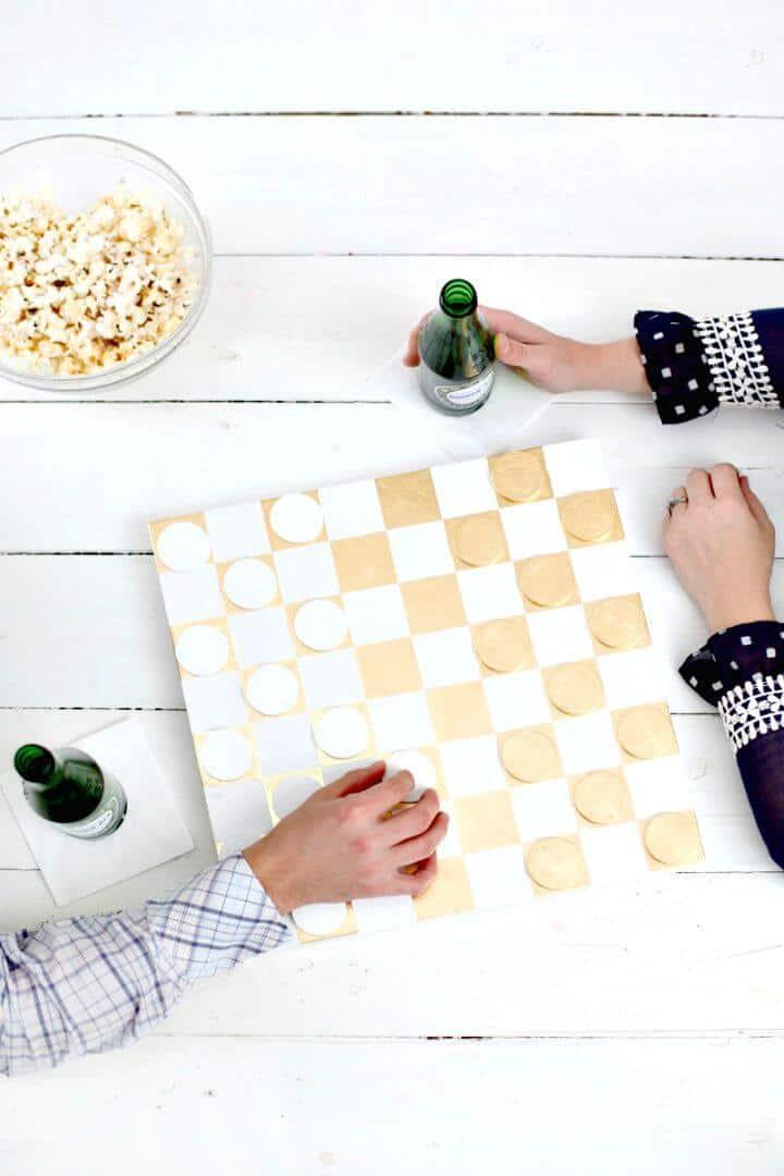 Regalo de boda de tablero de ajedrez de hoja de oro DIY