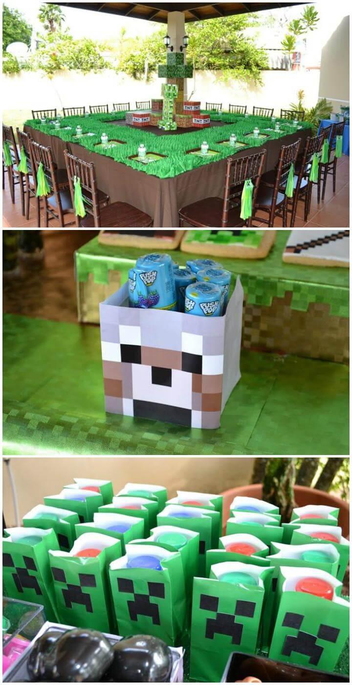 Increíble tema de fiesta para adolescentes de Minecraft