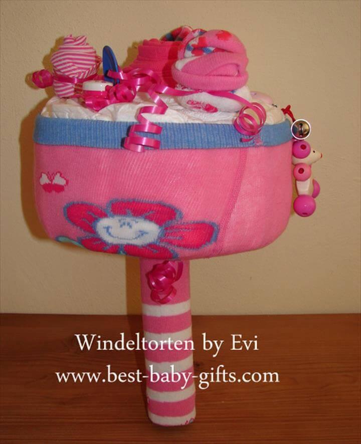 pastel de ramo de pañales de baby shower