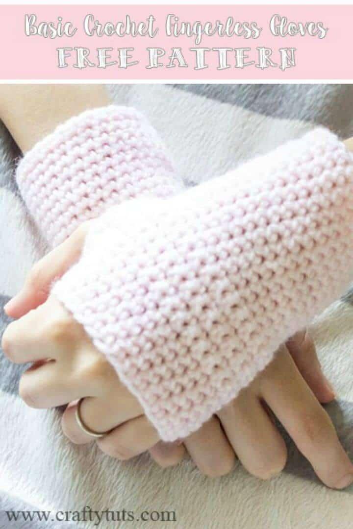 Patrón de patrón gratuito de guantes sin dedos de ganchillo gratis básico