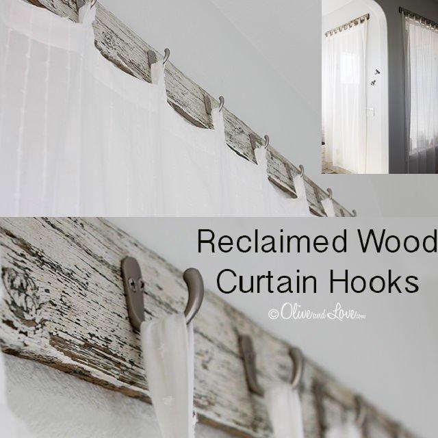 Cortinas de ducha de baño con madera recuperada