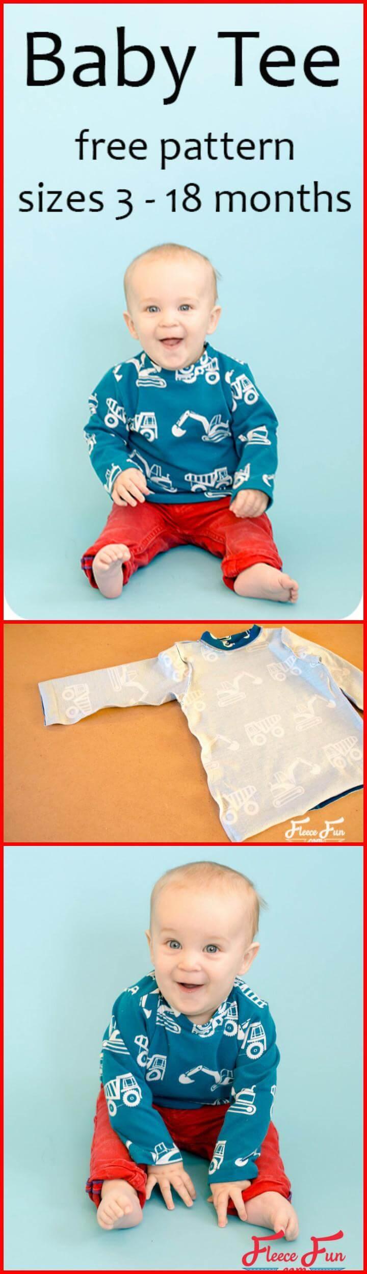patrón libre de camiseta de bebé fácil