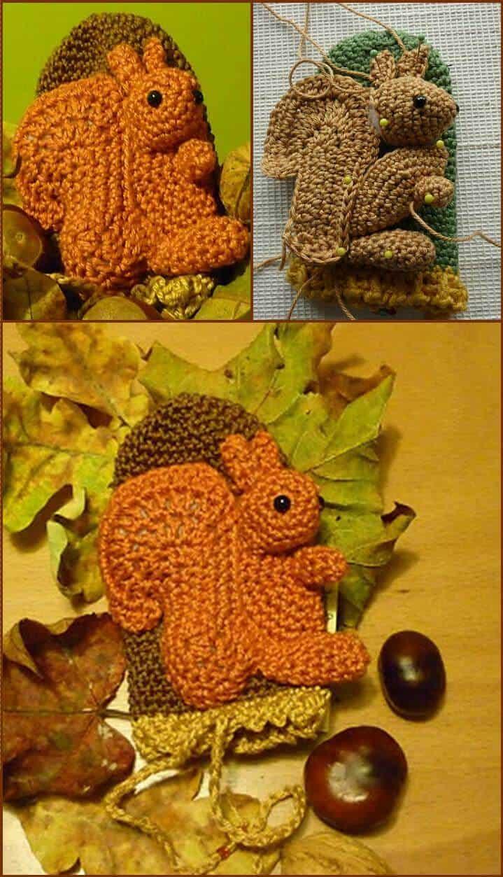 ardilla de crochet única acogedora