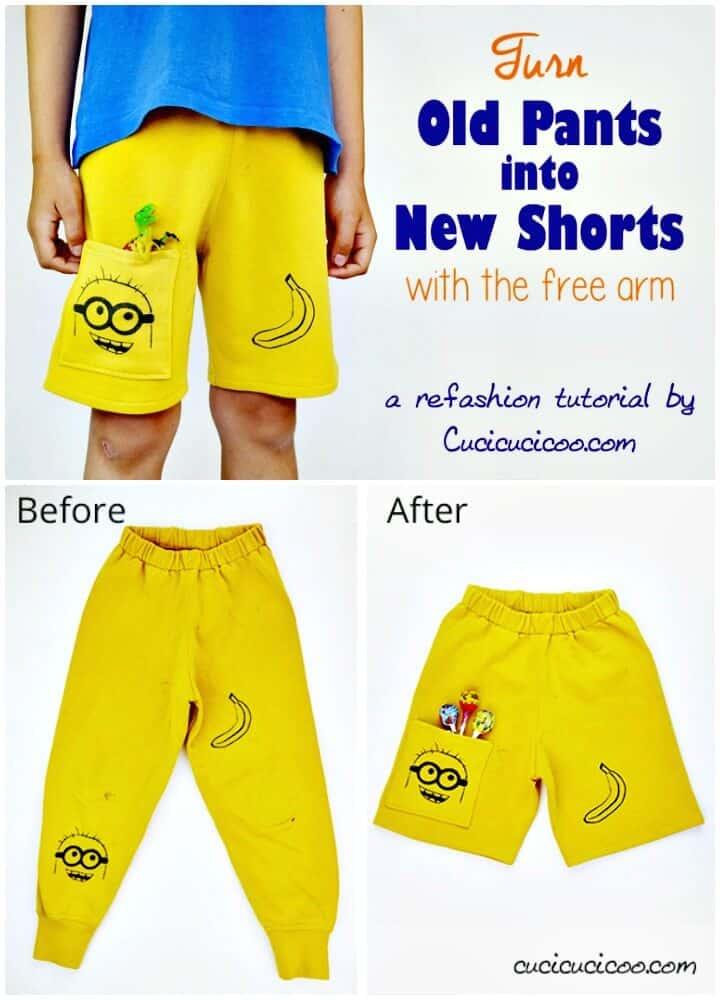 Hermosos pantalones cortos de bricolaje para niños