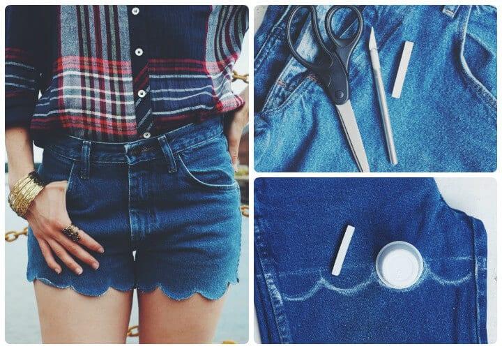 pantalones cortos de mezclilla festoneados de verano