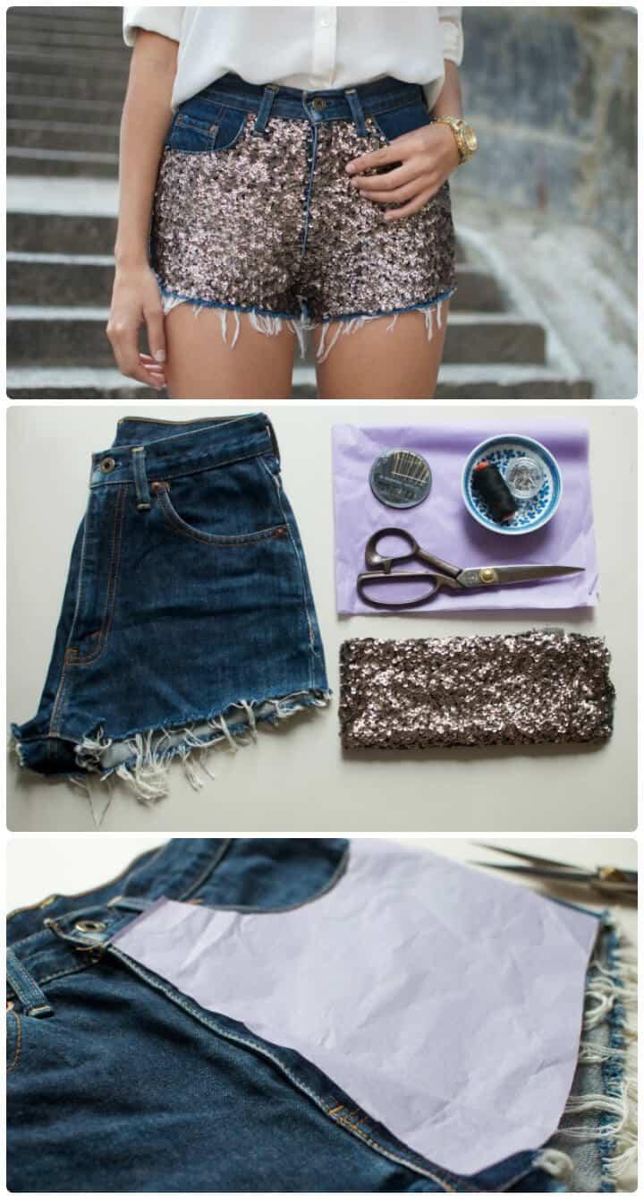 Shorts de lentejuelas de bricolaje