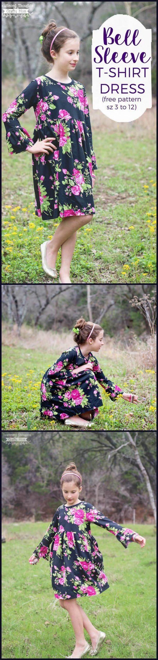 camiseta o vestido floral de manga acampanada fácil para niñas