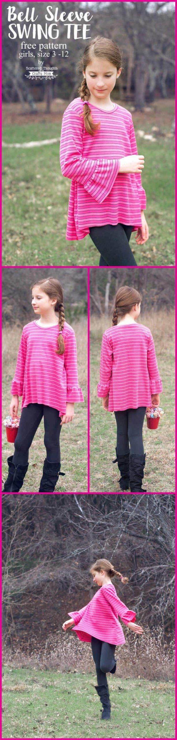 Tutorial y patrón de camiseta de niña con manga de campana fácil