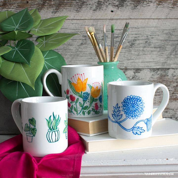 Idea de regalo de tazas pintadas botánicas