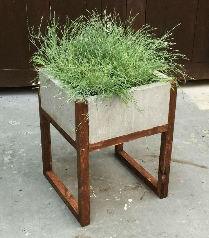 Jardinera de adoquines de bricolaje con bloques de hormigón