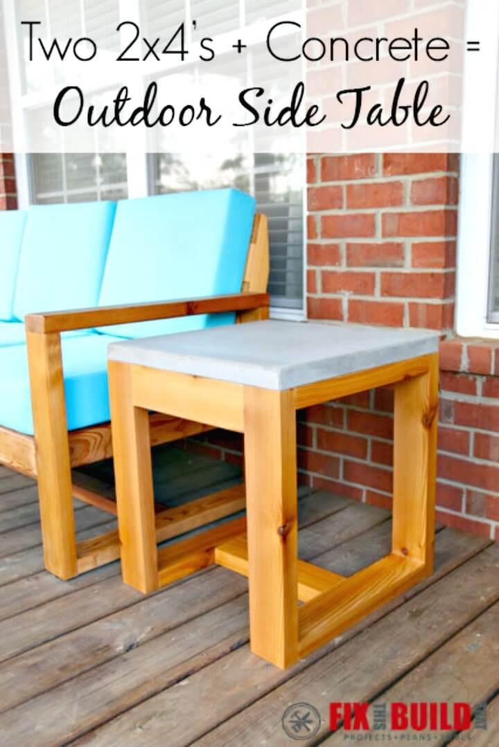 Construya 2 × 4 y una mesa auxiliar de concreto - Ideas de muebles de jardín de bricolaje