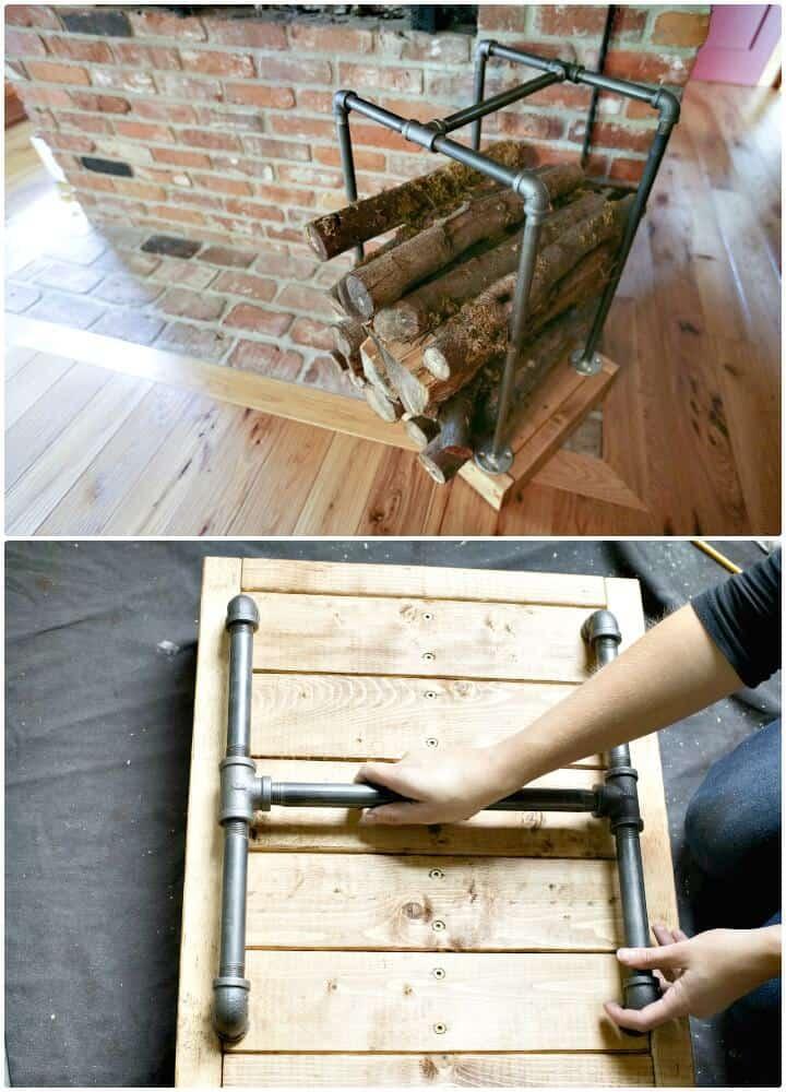 Soporte de leña de bricolaje con tablas de madera y tubos de PVC