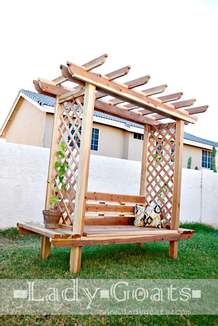 Construya su propio banco de jardín con cenador - bricolaje