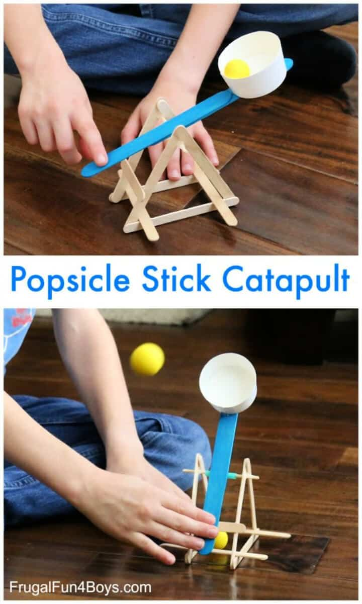 Construye una potente catapulta de palitos de helado