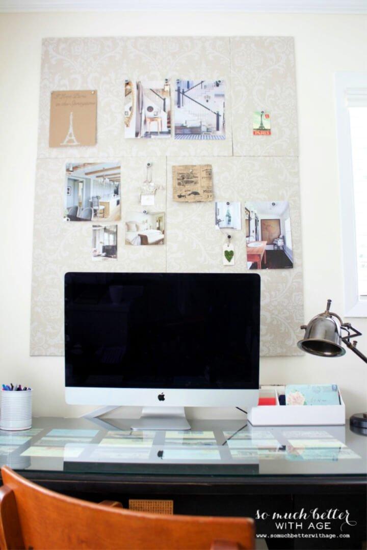 Tablón de anuncios con paneles de espuma y tela