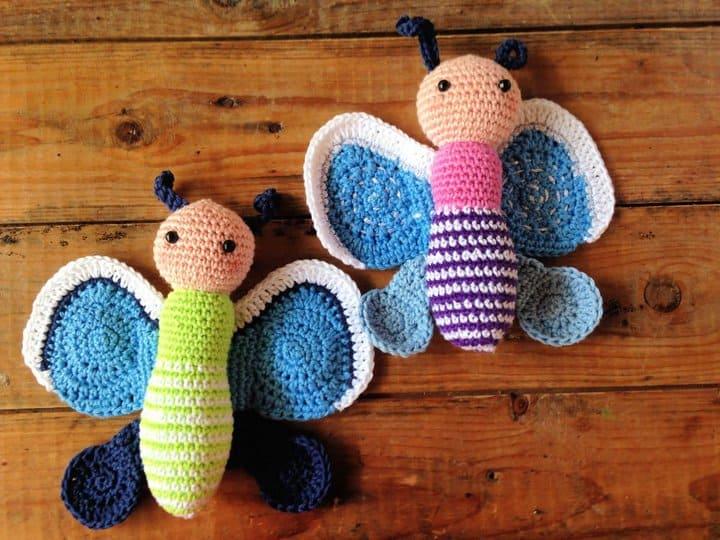 Patrón de ganchillo gratis de mariposa amigurumi