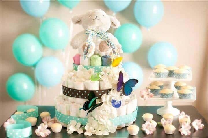 dulce pastel de pañales de oso de peluche para baby shower