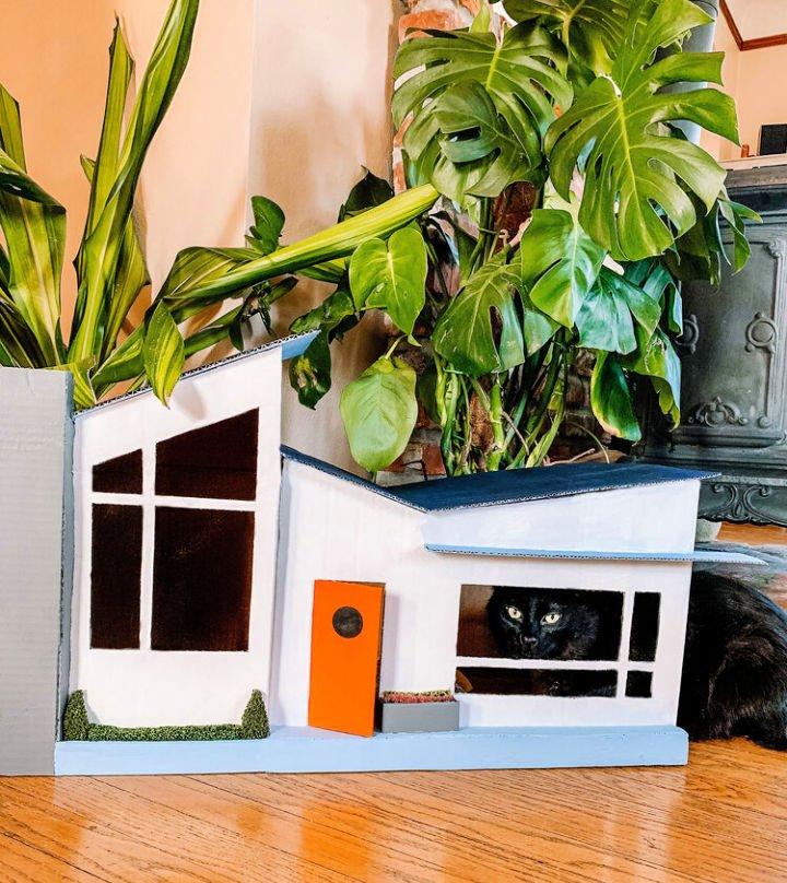 Casa de cartón para gatos