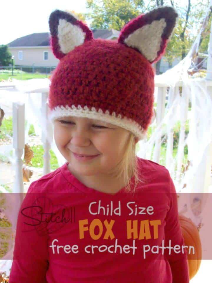 Sombrero de zorro tamaño infantil - Patrón de ganchillo gratuito